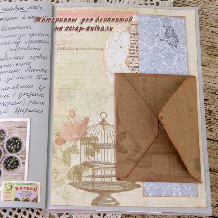 использование конвертов в скрапе, конверты в скрапе