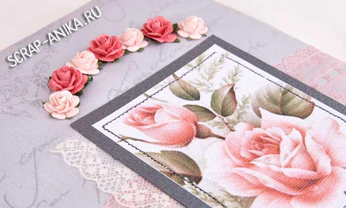 розы, цветы для скрап, блокнот с цветами, серый блокнот