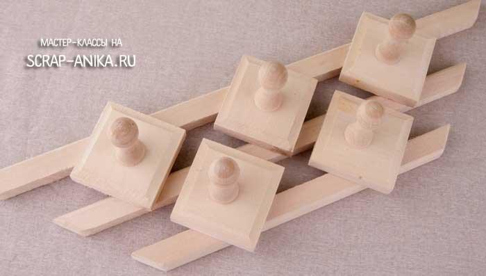 декупаж, деревянная вешалка