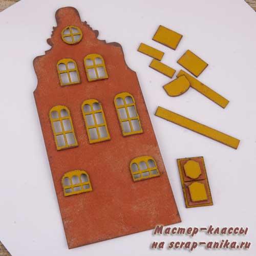 новогодний домик, голландские домики, домики скрапбукинг, домики своими руками