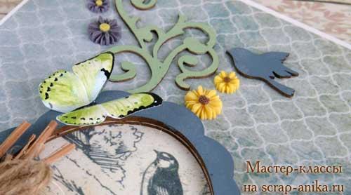зеленая бабочка, бумажная бабочка, бабочки в скрабукинге, как сделать бабочку