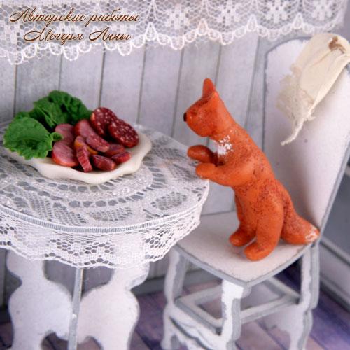 рыжий кот, кот из полимерной глины