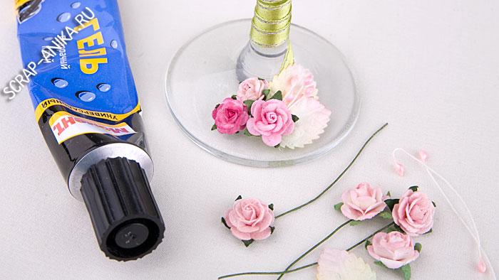 свадебный комплект, как украсить бокал