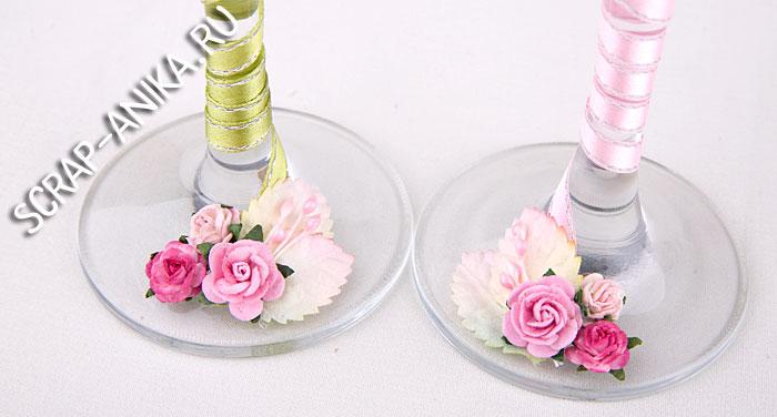 ножка бокала, украсить своими рукаами, свадебные бокалы