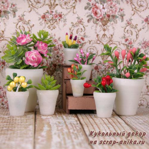 цветы для румбокса, цветы в кукольный домик, кукольные цветочки