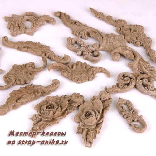 декор из пульпы, декор из древесной пасты, декор из дерева, декор для дерева