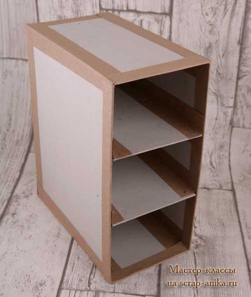 ящик для инструментов, комод из картона, мастер класс по картонажу