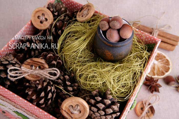 орешки, горшочек с орешками, настольная композиция