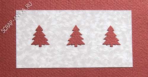 елочки, открытка, картон, цветной