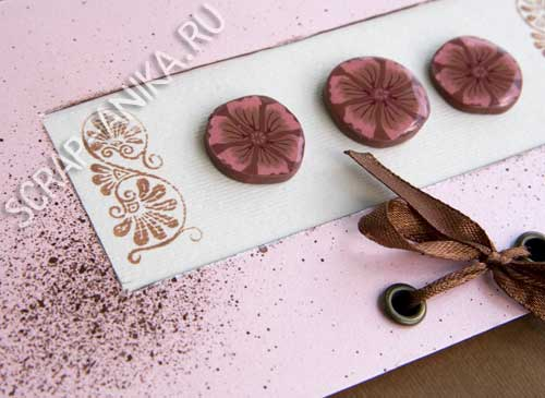 полимерная глина, лента, картон, цветок, штамп, скрапбукинг